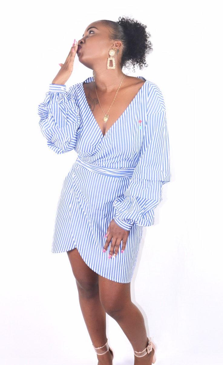 Robe Porte Feuille A Rayures Bleu Et Blanc 4fclothing